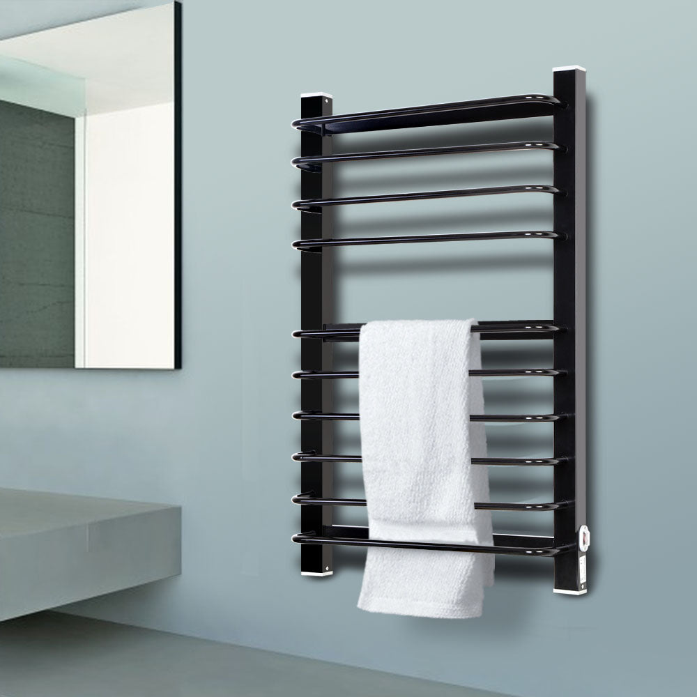 Heated Towel Rail Ladder Electric Warmer 10 Round Bars