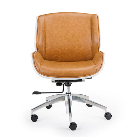 Wooden & PU Leather Office Chair Grosvenor Executive Chair - White