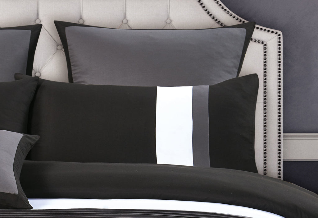 Queen Size Black and Grey Rich Pintuck Quilt Cover Set (3PCS)