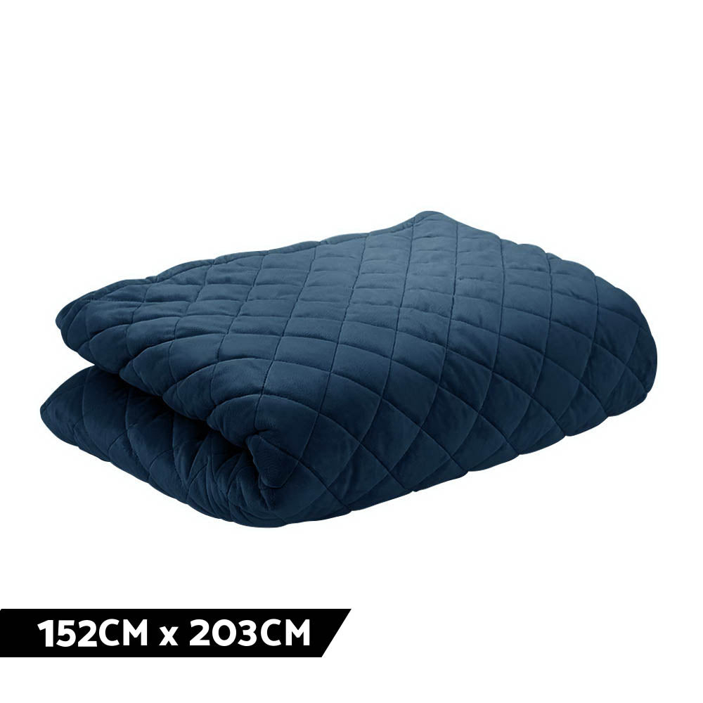 Giselle Bedding Microfibre Weighted Blanket Zipper Washable Cover Adult 152x203cm Navy