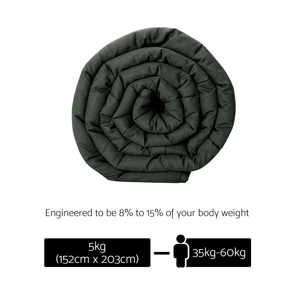 Giselle Bedding 5KG Cotton Weighted Blanket Heavy Gravity Sleep Adult Black