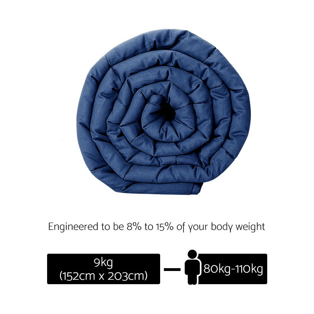 Giselle Bedding 9KG Cotton Weighted Blanket Heavy Gravity Deep Relax Adult Navy