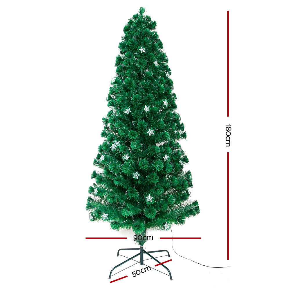 Jingle Jollys 1.8M 6FT LED Christmas Tree Xmas Optic Fiber Multi Colour Lights