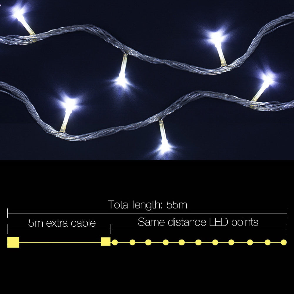 Jingle Jollys 50M 250 LED Christmas String Lights Cold White