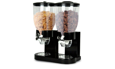 DOUBLE CEREAL DISPENSER DRY FOOD STORAGE CONTAINER DISPENSE MACHINE BLACK-sale clearance deal bargains online store Melbourne Sydney Perth Australia