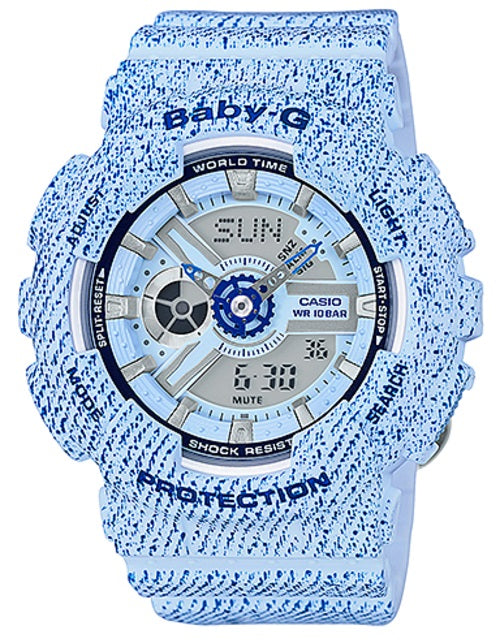Casio Baby-G Blue Denim Pattern Limited Edition Watch BA110DC-2A3