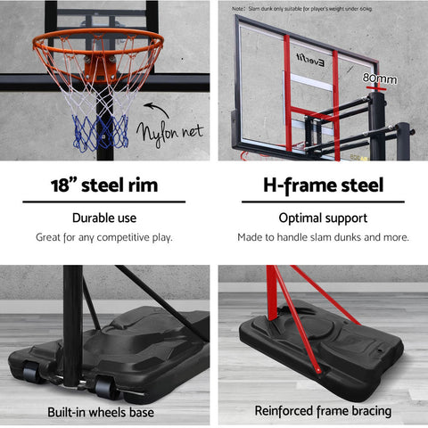Everfit 3.05M Portable Basketball Stand System Height Adjustable Black
