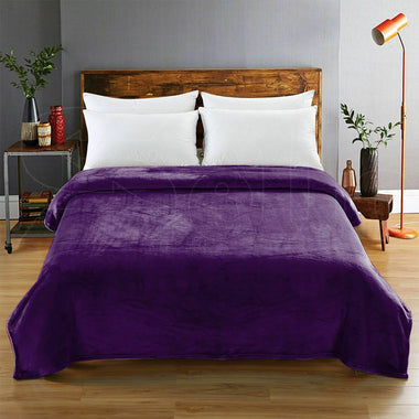 DreamZ 320GSM 220x240cm Ultra Soft Mink Blanket Warm Throw in Aubergine Colour-Online Store Australia