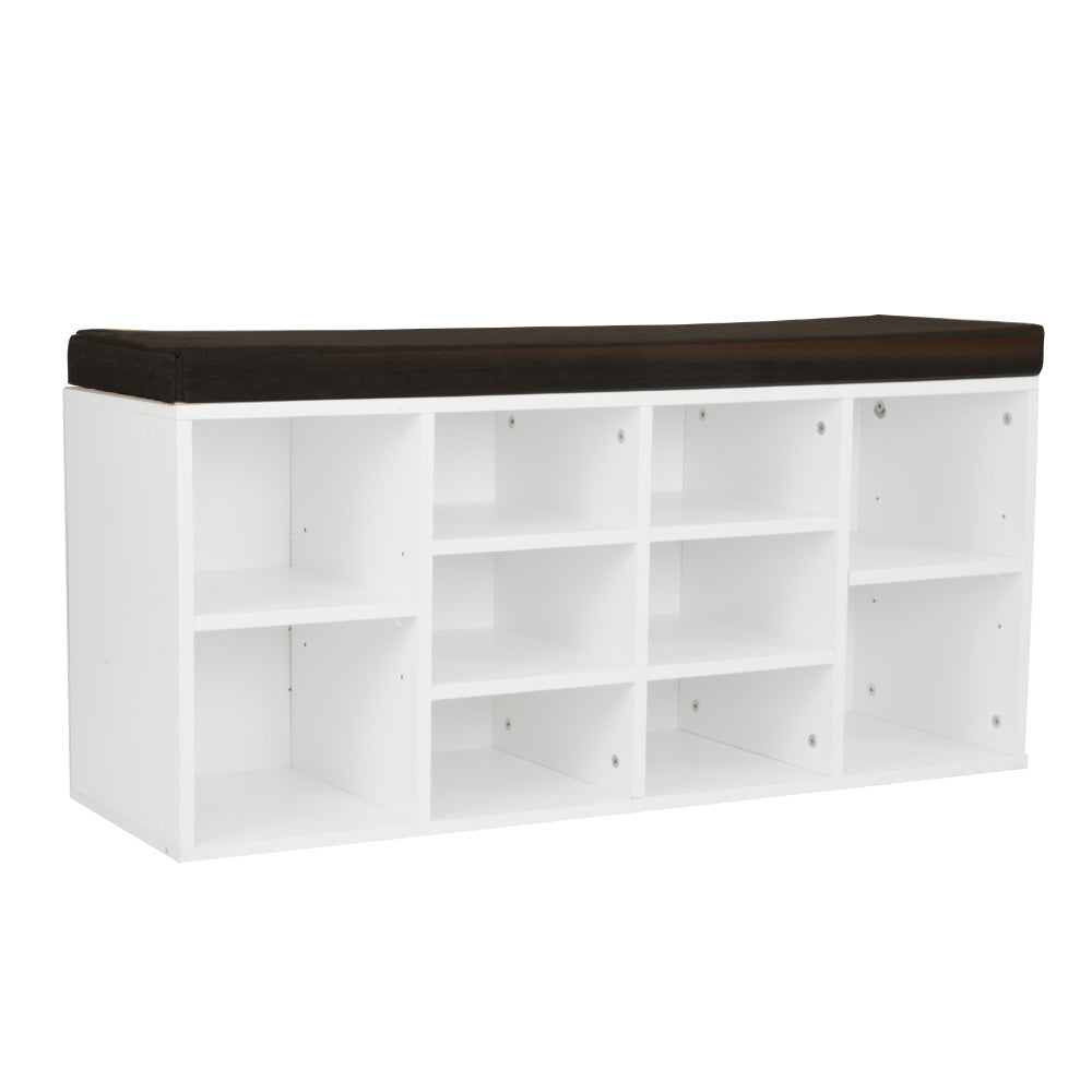 Shoe Rack Cabinet Organiser Brown Cushion - 104 x 30 x 45 - White
