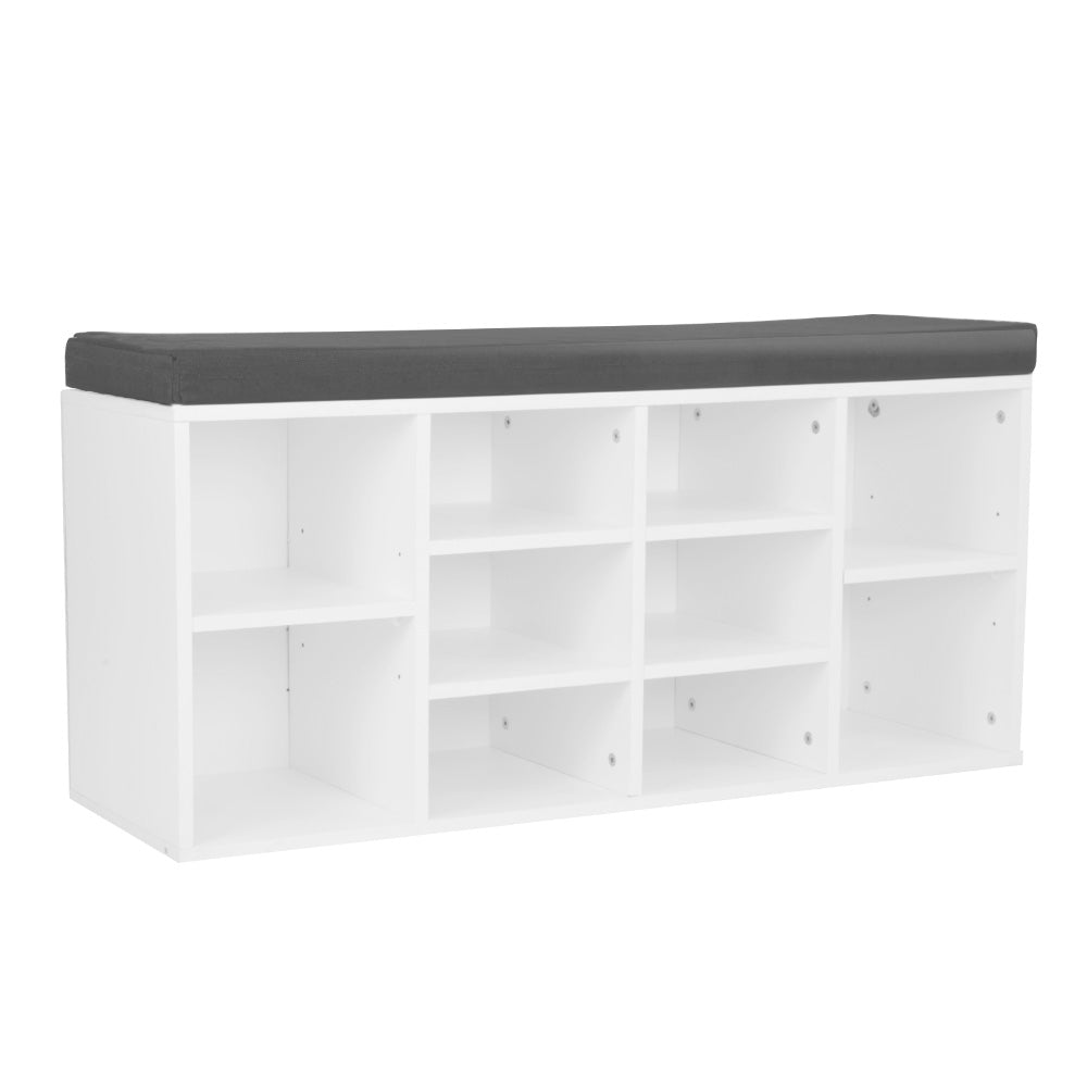 Shoe Rack Cabinet Organiser Grey Cushion - 104 x 30 x 45 - White