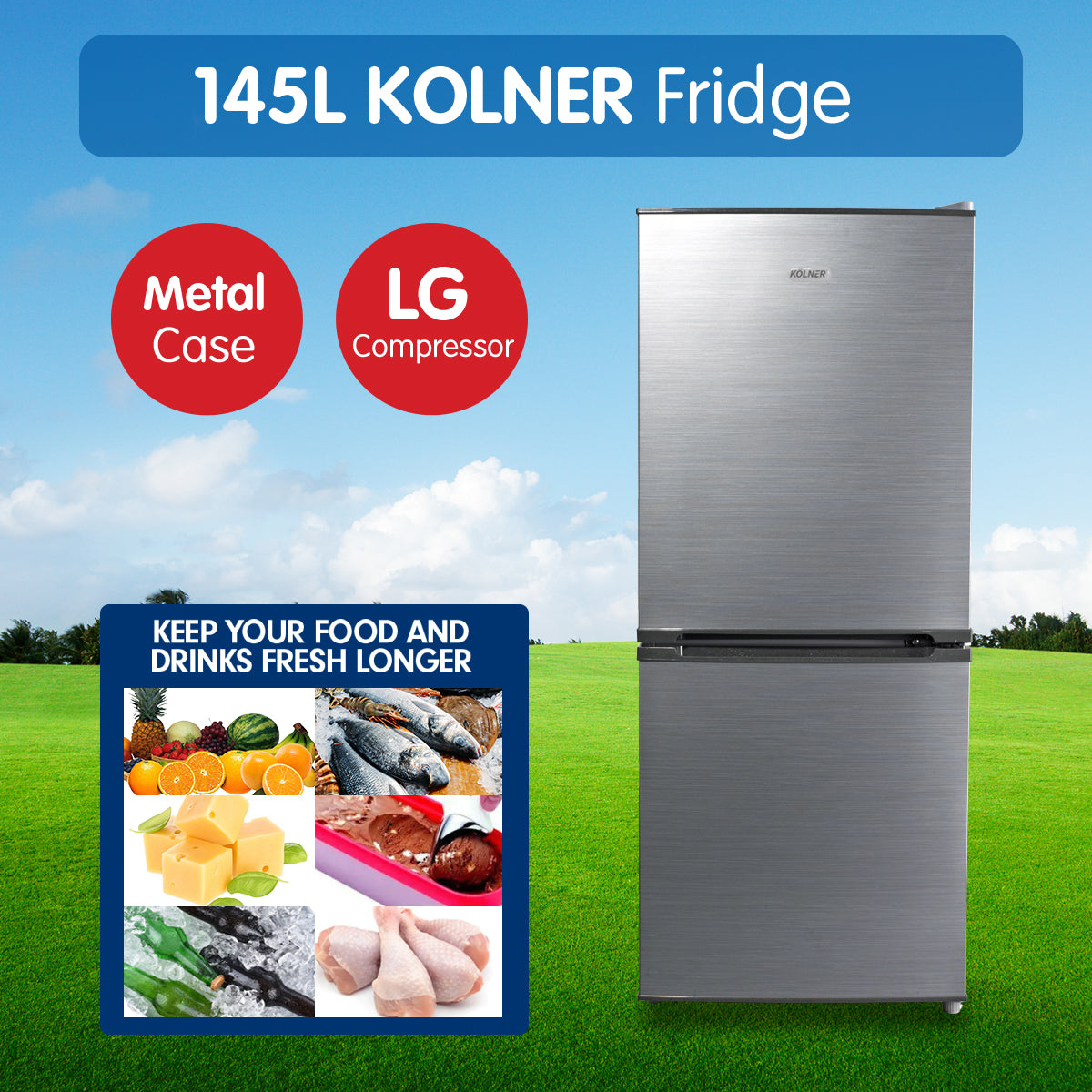 Kolner 145L Bar Fridge w/ LG Compressor Portable Cooler Freezer