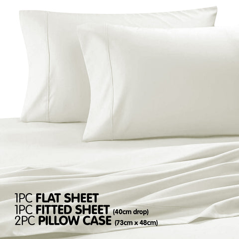 Cotton microfibre 1000TC 4pc Queen sheet set - Ivory