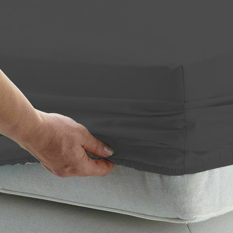 Cotton microfibre 1000TC 4pc Queen sheet set - Pewter