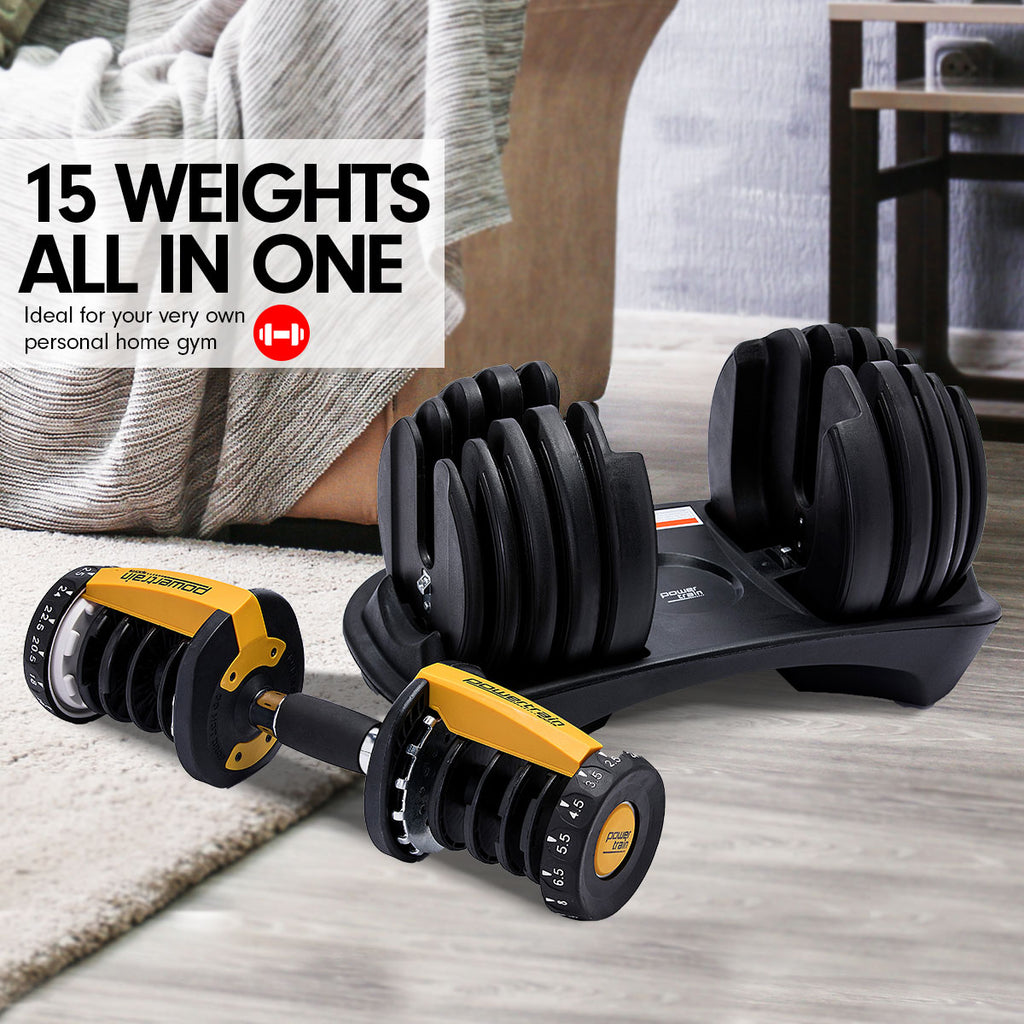 48kg Powertrain Adjustable Dumbbell Home Gym Set Gold