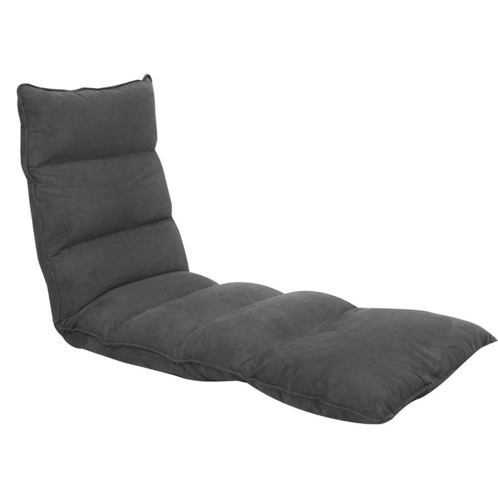 Adjustable Cushioned Floor Lounge Chair 174 x 56 x 15cm - Charcoal