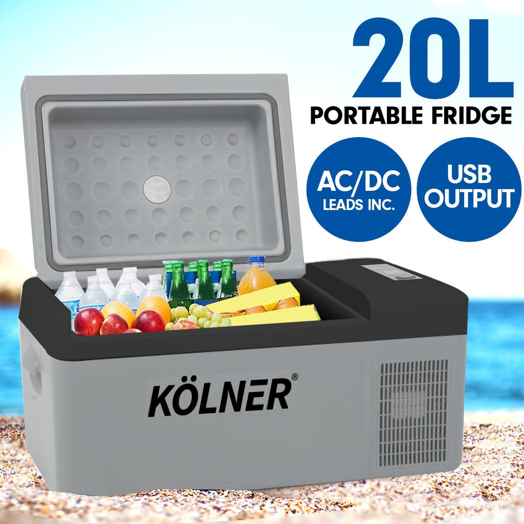 Kolner 20L Portable Fridge Cooler Freezer Camping Food Storage Grey