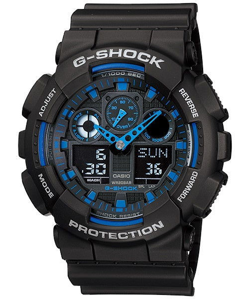 Casio G-Shock Analogue/Digital Mens Black Watch GA100-1A2 GA-100-1A2DR - Store Zone-Online Shopping Store Melbourne Australia