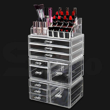 9 Drawer Clear Acrylic Cosmetic Makeup Organizer Jewellery Storage Box-Store Zone-Online Shopping Store Melbourne Australia