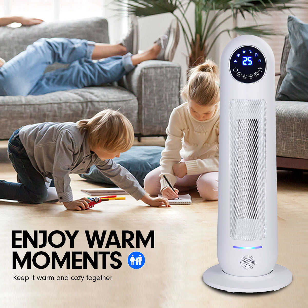 Pronti Electric Tower Heater 2200W Remote Control - White
