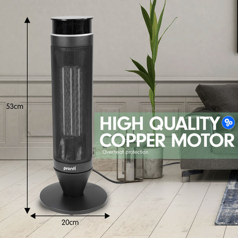 Pronti Electric Tower Heater 2000W Remote Portable - Black