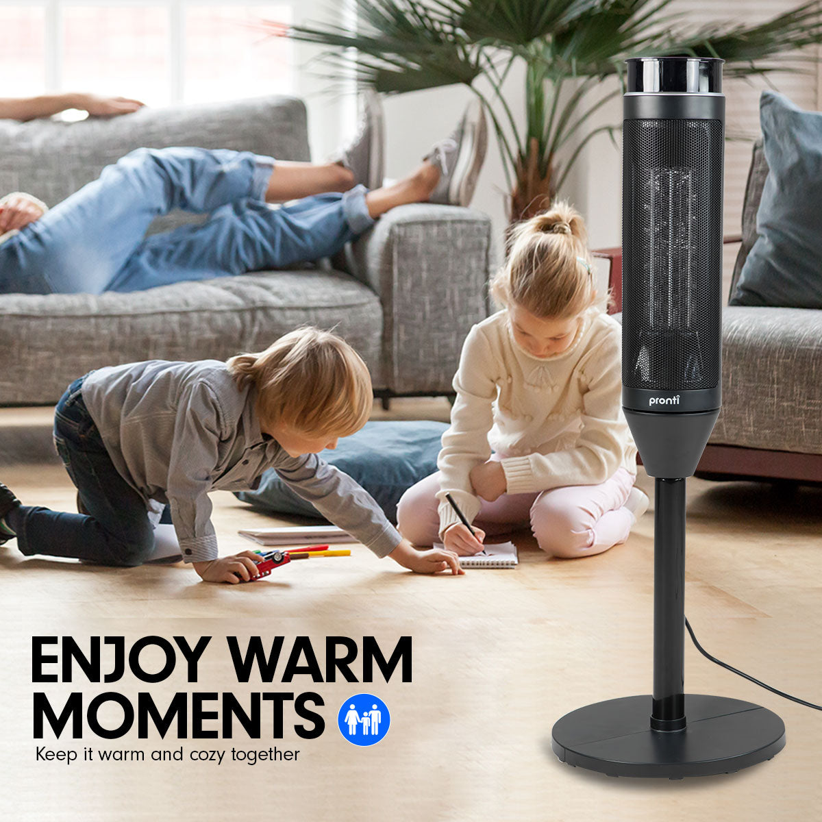 Pronti Electric Tower Heater 2000W Ceramic Portable Remote - Black