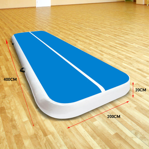 4m x 2m Airtrack Tumbling Mat Gymnastics Exercise Blue White