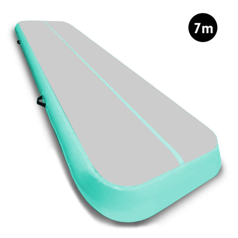 7m Airtrack Tumbling Mat Gymnastics Exercise 20cm Air Track Grey Green