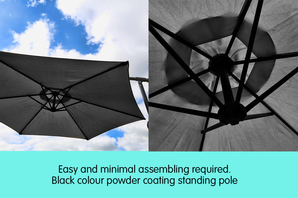 Sorrento Outdoor Living Cantilever Umbrella 2.7M - Charcoal