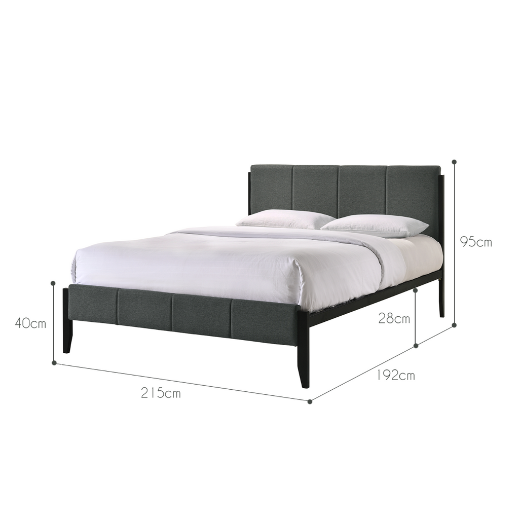 Fabric Upholstered Bed Frame in Charcoal - King