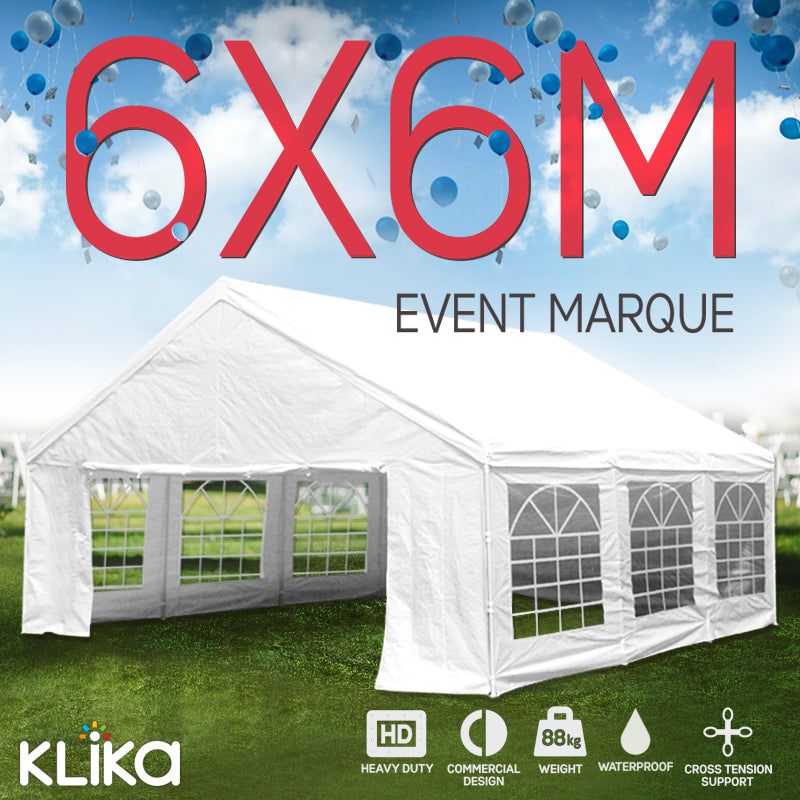 Wallaroo 6x6m Outdoor Event Marquee Gazebo Party Wedding Tent - White