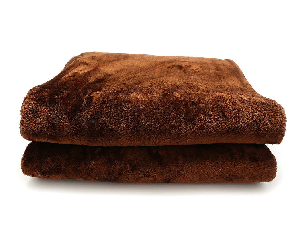 600GSM Large Double-Sided Faux Mink Blanket - Chocolate