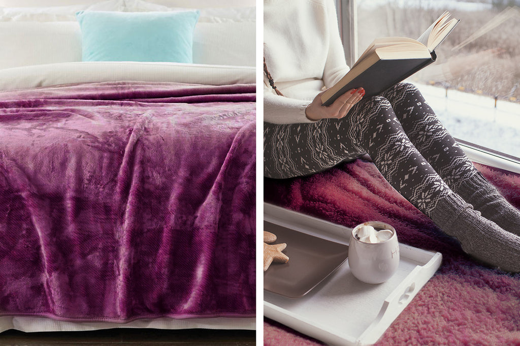 600GSM Large Double-Sided Faux Mink Blanket - Purple