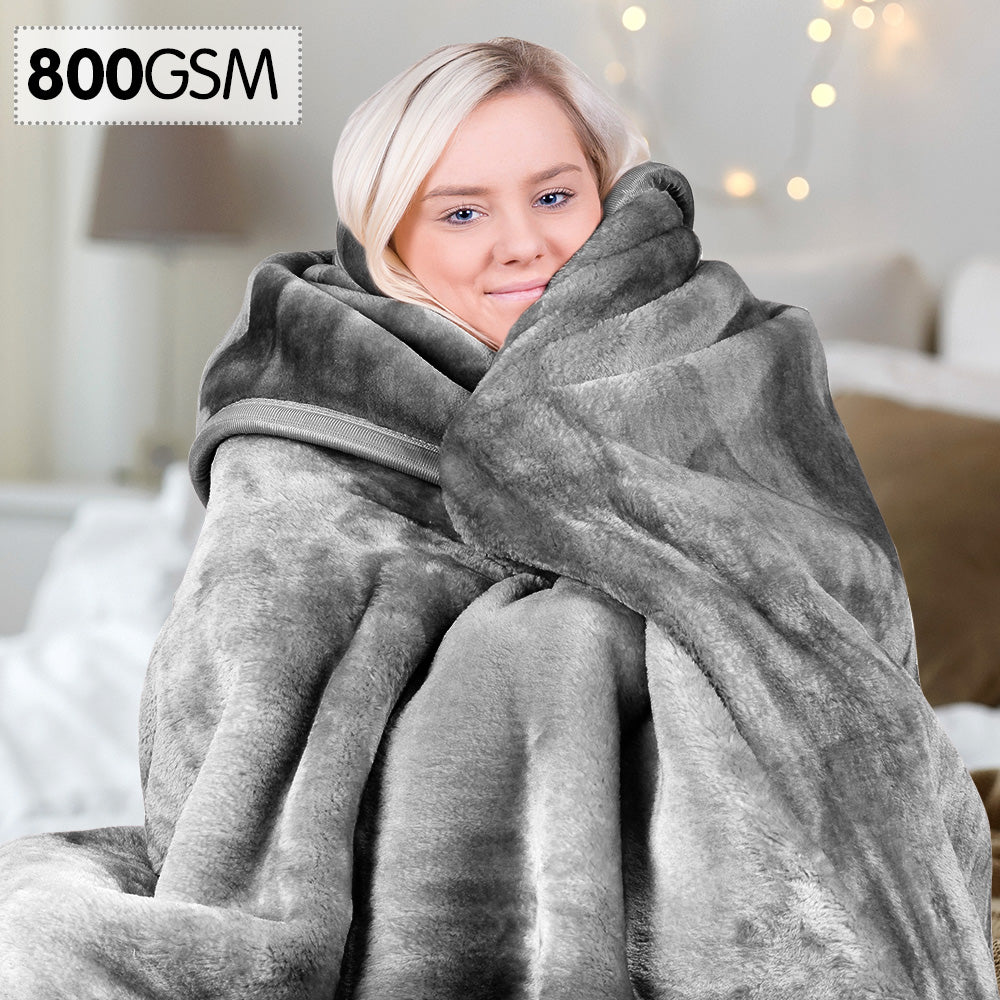 800GSM Heavy Double-Sided Faux Mink Blanket - Silver