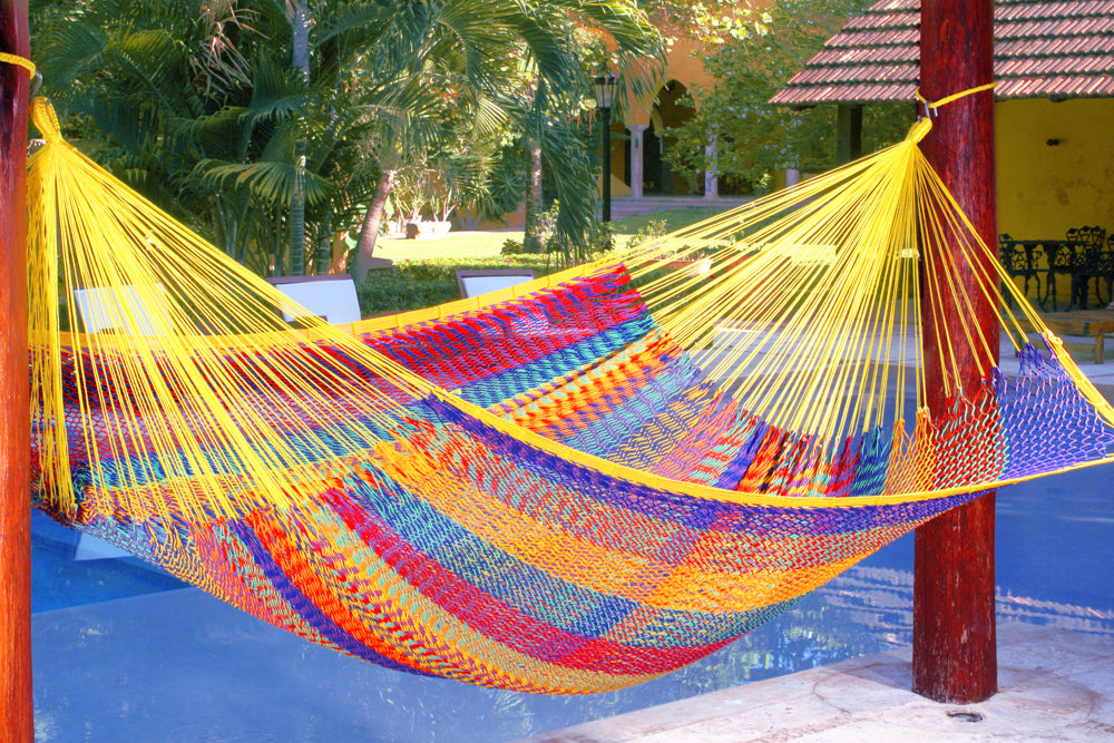 King Size Outdoor Cotton Hammock in Confeti
