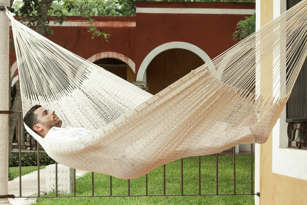 Queen Size Outdoor Cotton Hammock in Cream