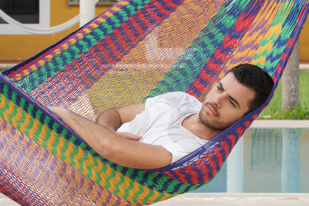 Queen Size Outdoor Cotton Hammock in Mexicana
