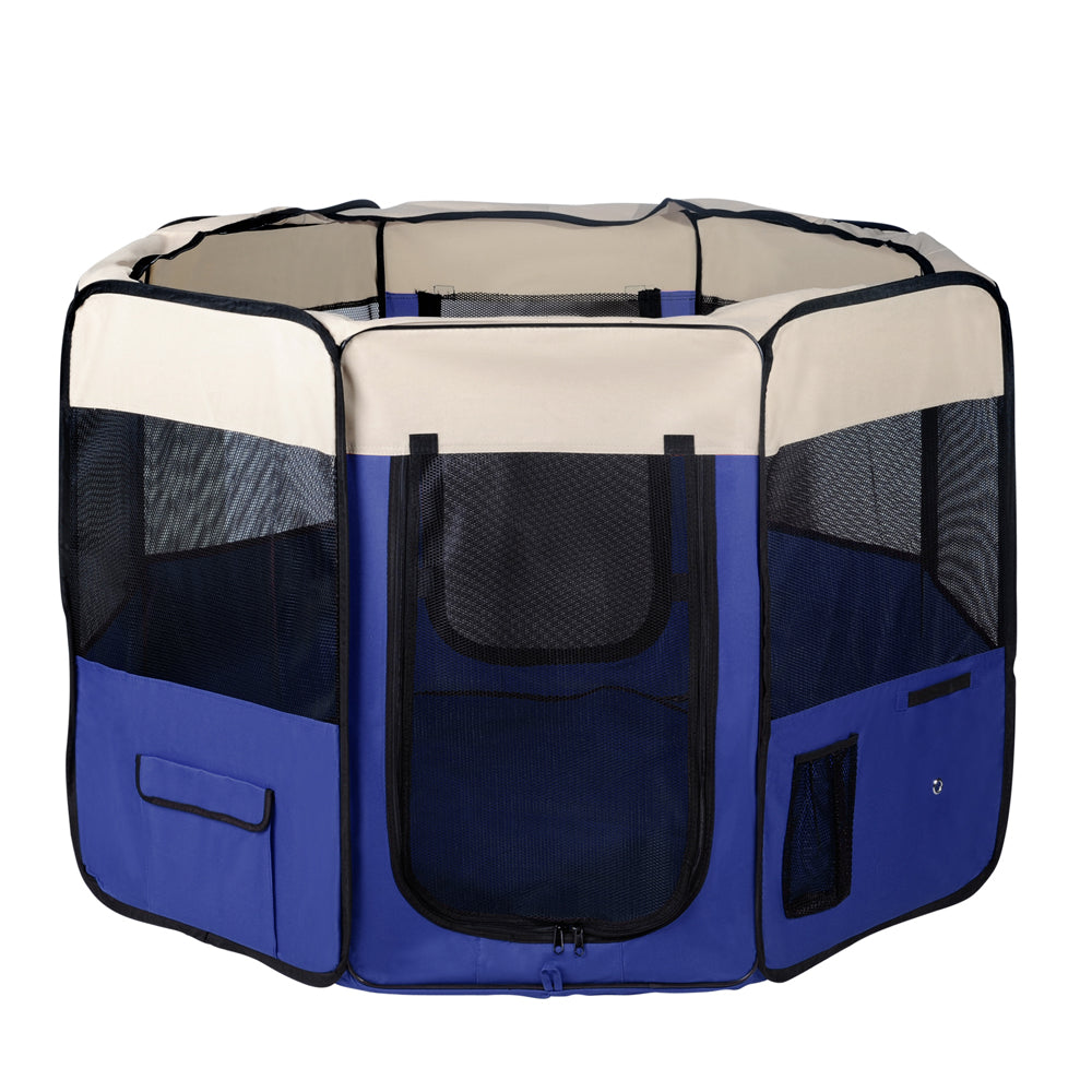 i.Pet Portable Soft Pet Play Pen - Blue