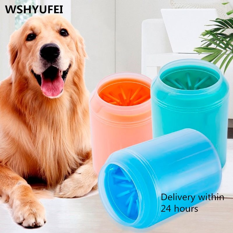 Pet Dog Cats Puppy Paw Cleaner Cup Soft Silicone Combs Portable Outdoor Pet towel Foot Washer Paw Clean Brush Quickly Wash Foot Cleaning Bucket