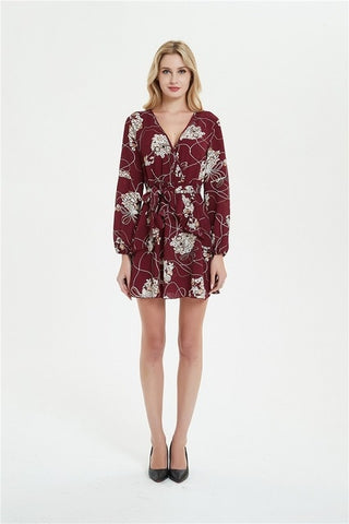 Sexy Deep V Neck Floral Printed Women Dress - Store Zone-Online Shopping Store Melbourne Australia