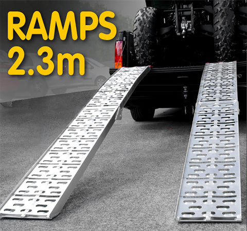 2X ALUMINIUM FOLDING LOADING RAMPS ATV Motorbike