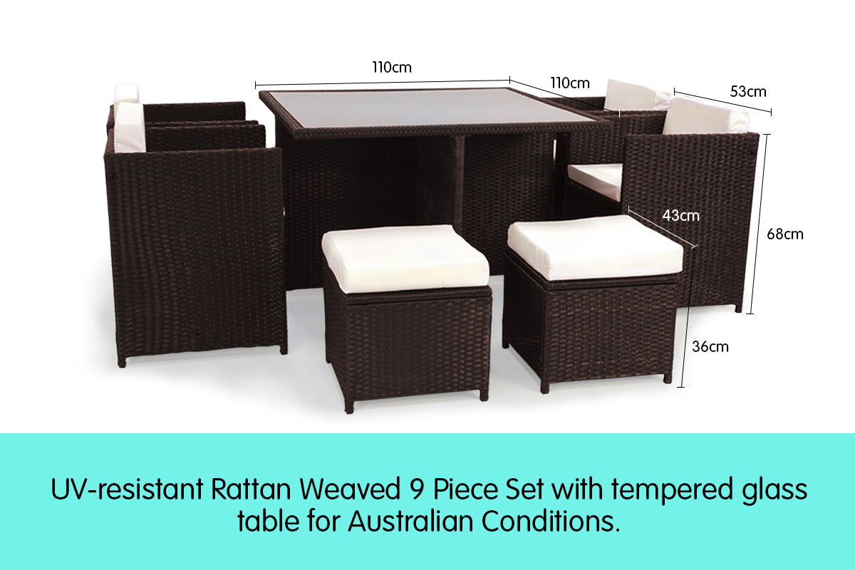 9pc PE Rattan Cube Dining Garden Set - Brown