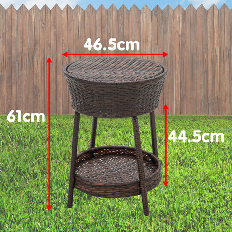 Rattan Outdoor Cooler Table Mini Bar Ice Cool Coffee - Brown