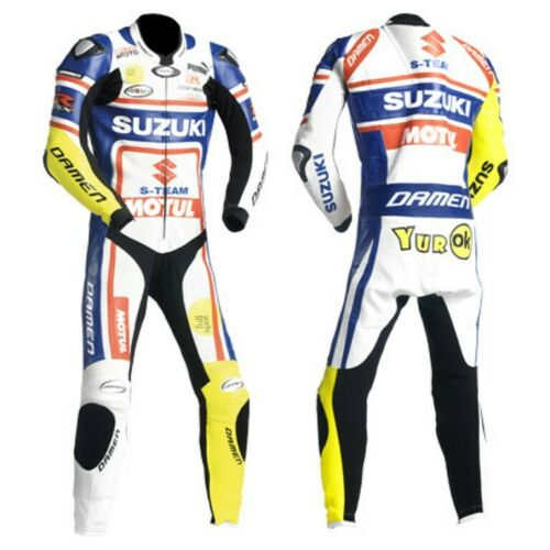 Suzuki Mens Riding Bikers Leather Suits Motorcycle Jackets One Piece Two Piece R
