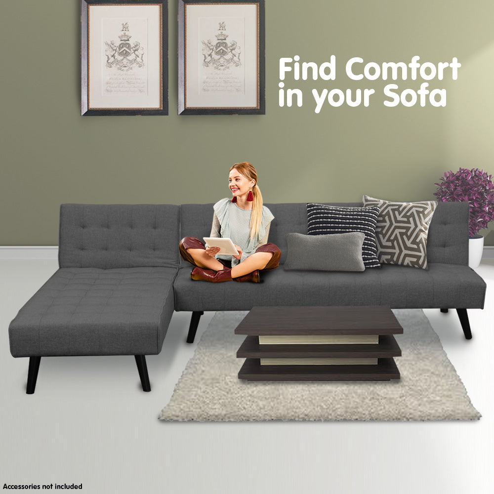 3-Seater Corner Sofa Bed with Lounge Chaise Couch Furniture Dark Grey