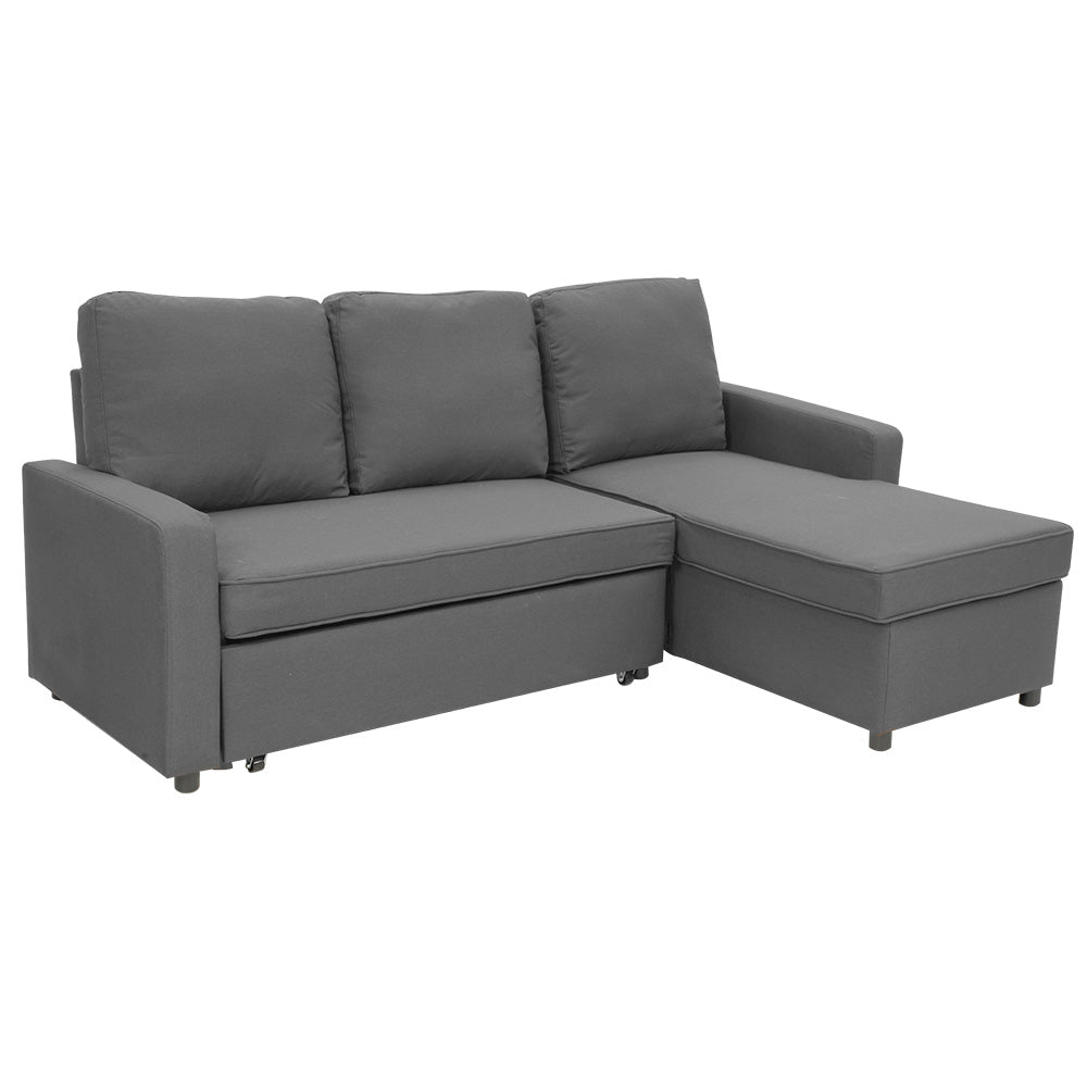 3-Seater Corner Sofa Bed With Storage Lounge Chaise Couch - Grey