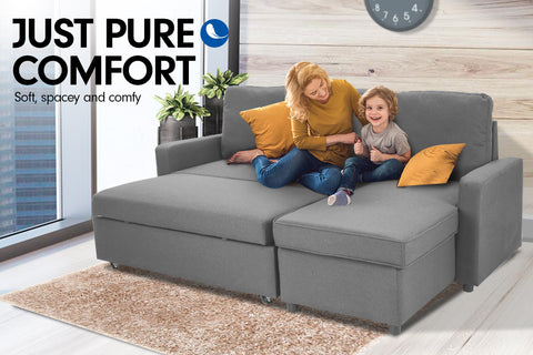 3-Seater Corner Sofa Bed w/ Storage Lounge Chaise Couch - Light Grey