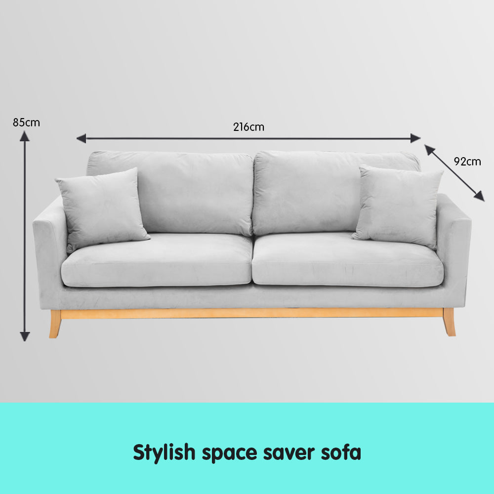 Sarantino 3 Seater Faux Velvet Sofa Bed Couch Furniture - Light Grey