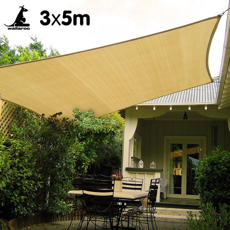 Wallaroo Rectangular Shade Sail: 3m x 5m - Sand
