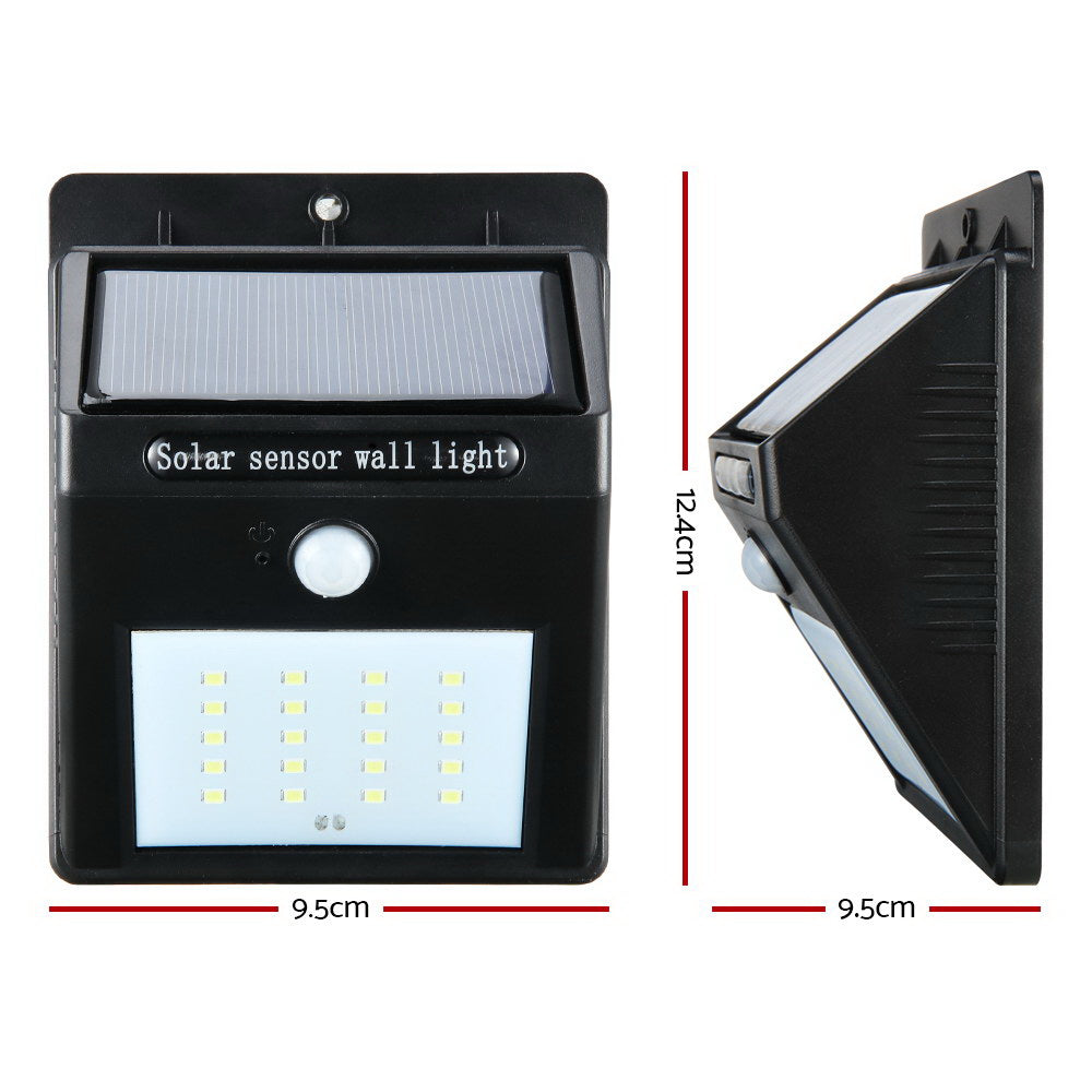 Set of 2 20 LED Solar Powered Sensor Light - Black