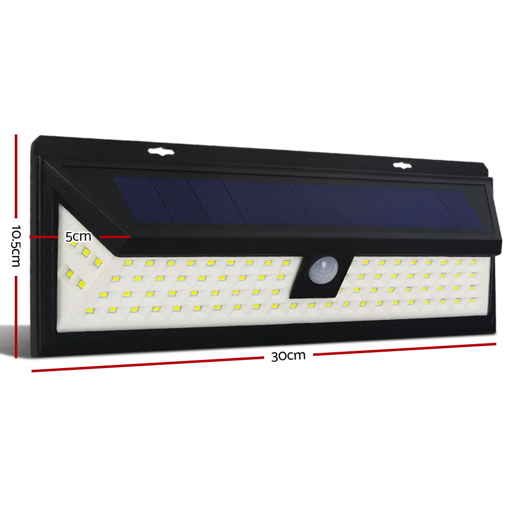 Set of 2 86 LED Solar Powered Sensor Light - Black